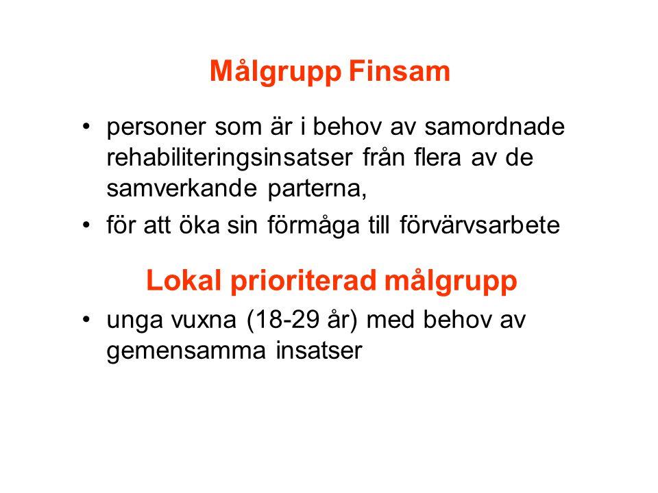 Målgrupp Finsam •personer som är i behov av samordnade rehabiliteringsinsatser från flera av de samverkande parterna, •för att öka sin förmåga till fö