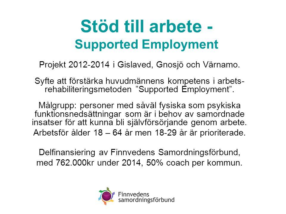 Stöd till arbete - Supported Employment Projekt 2012-2014 i Gislaved, Gnosjö och Värnamo. Syfte att förstärka huvudmännens kompetens i arbets- rehabil