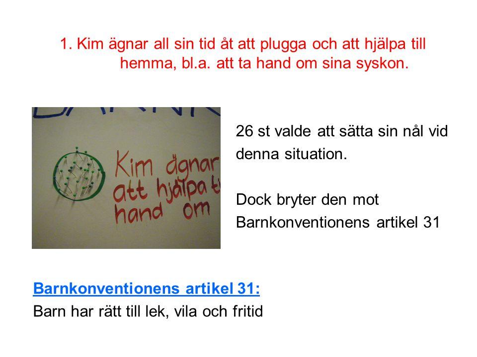 1.Kim ägnar all sin tid åt att plugga och att hjälpa till hemma, bl.a.
