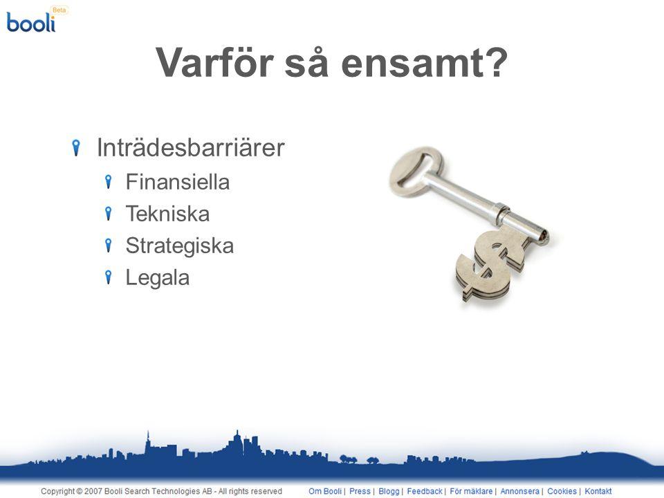 Varför så ensamt Inträdesbarriärer Finansiella Tekniska Strategiska Legala