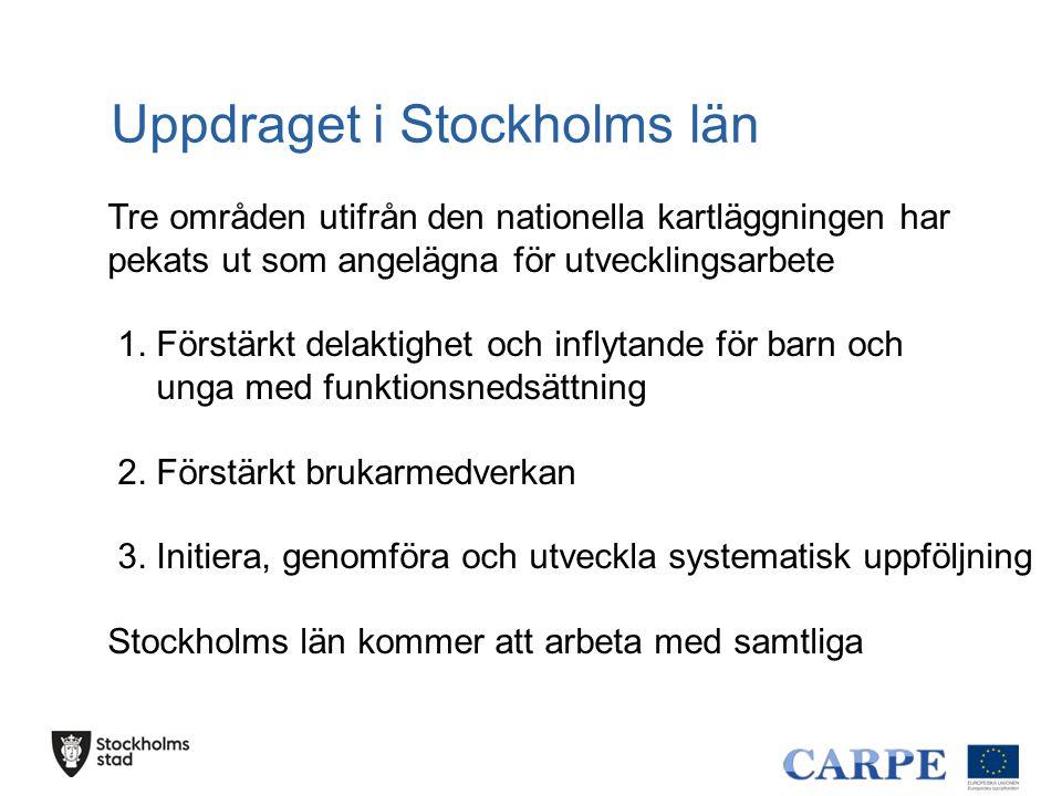 Uppdraget i Stockholms län Tre områden utifrån den nationella kartläggningen har pekats ut som angelägna för utvecklingsarbete 1. Förstärkt delaktighe