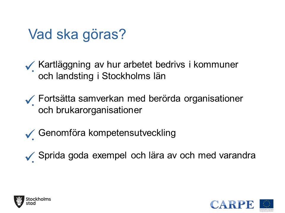 Vad ska göras? ........ Kartläggning av hur arbetet bedrivs i kommuner och landsting i Stockholms län Fortsätta samverkan med berörda organisa