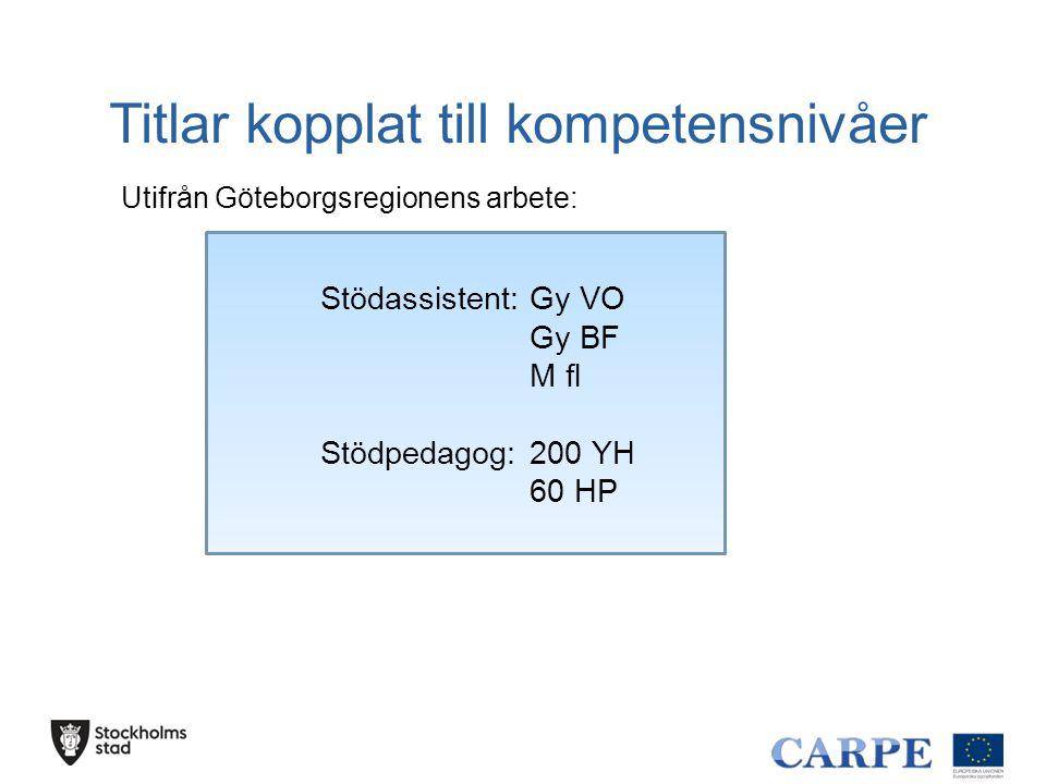Titlar kopplat till kompetensnivåer Stödassistent:Gy VO Gy BF M fl Stödpedagog:200 YH 60 HP Utifrån Göteborgsregionens arbete: