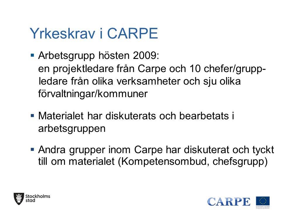Yrkeskrav i CARPE  Arbetsgrupp hösten 2009: en projektledare från Carpe och 10 chefer/grupp- ledare från olika verksamheter och sju olika förvaltning
