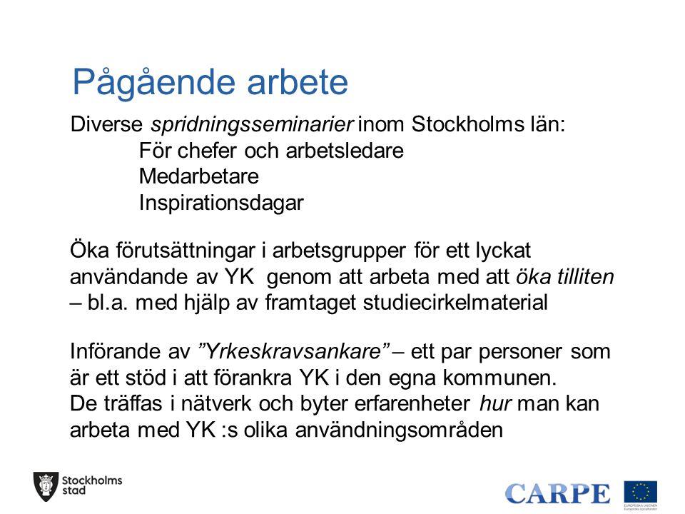 """Pågående arbete Diverse spridningsseminarier inom Stockholms län: För chefer och arbetsledare Medarbetare Inspirationsdagar Införande av """"Yrkeskravsan"""