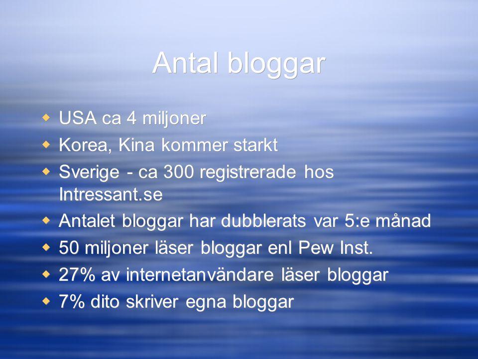 Antal bloggar  USA ca 4 miljoner  Korea, Kina kommer starkt  Sverige - ca 300 registrerade hos Intressant.se  Antalet bloggar har dubblerats var 5