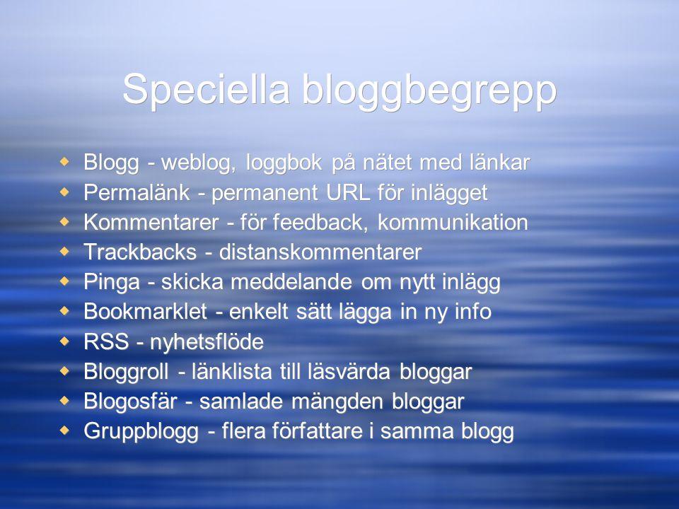 Speciella bloggbegrepp  Blogg - weblog, loggbok på nätet med länkar  Permalänk - permanent URL för inlägget  Kommentarer - för feedback, kommunikat