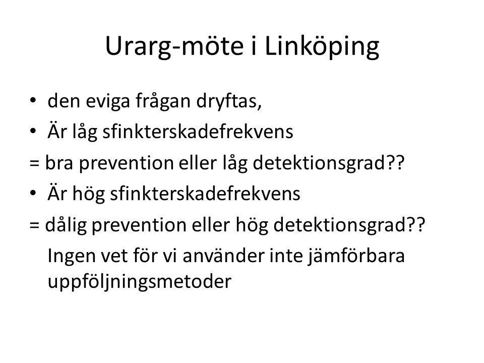 Urarg-möte i Linköping • den eviga frågan dryftas, • Är låg sfinkterskadefrekvens = bra prevention eller låg detektionsgrad?? • Är hög sfinkterskadefr
