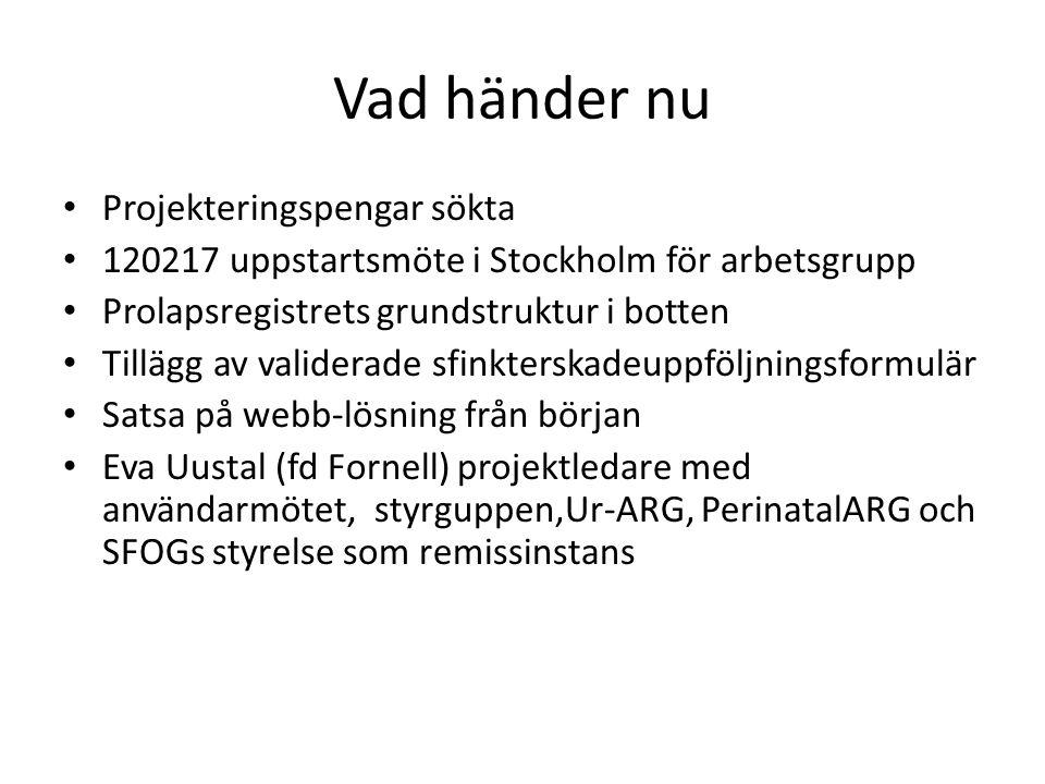 Vad händer nu • Projekteringspengar sökta • 120217 uppstartsmöte i Stockholm för arbetsgrupp • Prolapsregistrets grundstruktur i botten • Tillägg av v