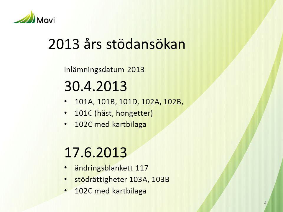 2013 års stödansökan Inlämningsdatum 2013 30.4.2013 • 101A, 101B, 101D, 102A, 102B, • 101C (häst, hongetter) • 102C med kartbilaga 17.6.2013 • ändring