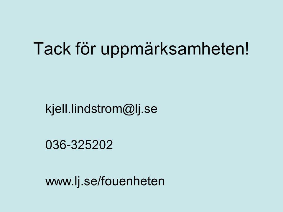 Tack för uppmärksamheten! kjell.lindstrom@lj.se 036-325202 www.lj.se/fouenheten