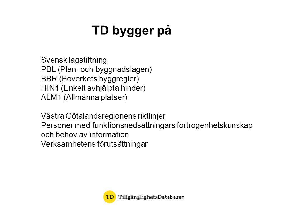 TD bygger på Svensk lagstiftning PBL (Plan- och byggnadslagen) BBR (Boverkets byggregler) HIN1 (Enkelt avhjälpta hinder) ALM1 (Allmänna platser) Västr