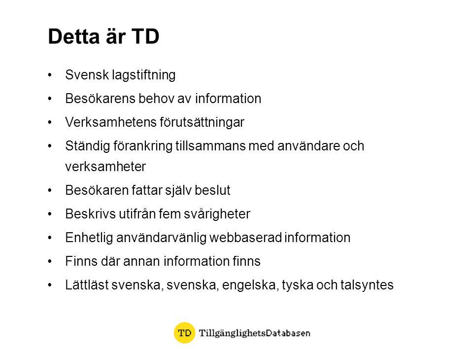 •Svensk lagstiftning •Besökarens behov av information •Verksamhetens förutsättningar •Ständig förankring tillsammans med användare och verksamheter •B