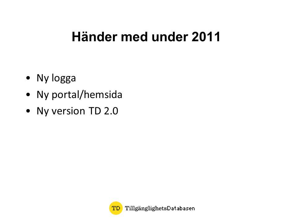 Händer med under 2011 •Ny logga •Ny portal/hemsida •Ny version TD 2.0