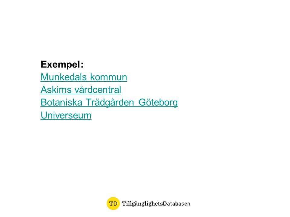 Exempel: Munkedals kommun Askims vårdcentral Botaniska Trädgården Göteborg Universeum