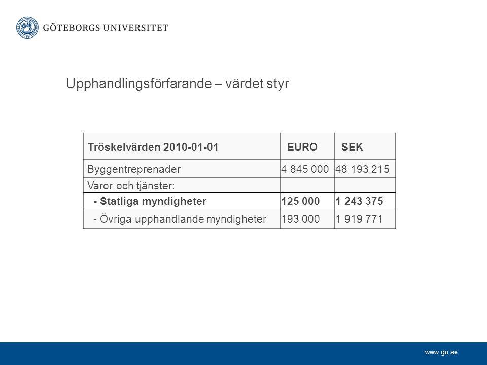www.gu.se Upphandlingsförfarande – värdet styr Tröskelvärden 2010-01-01 EURO SEK Byggentreprenader4 845 00048 193 215 Varor och tjänster: - Statliga m