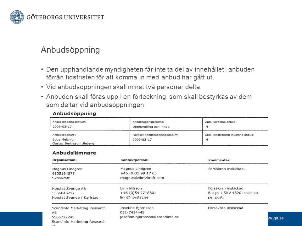 www.gu.se Anbudsöppning •Den upphandlande myndigheten får inte ta del av innehållet i anbuden förrän tidsfristen för att komma in med anbud har gått u