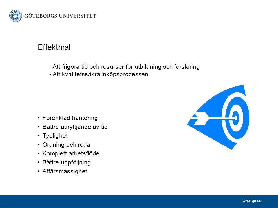 www.gu.se Effektmål - Att frigöra tid och resurser för utbildning och forskning - Att kvalitetssäkra inköpsprocessen •Förenklad hantering •Bättre utny