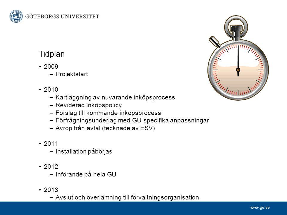 www.gu.se Tidplan •2009 –Projektstart •2010 –Kartläggning av nuvarande inköpsprocess –Reviderad inköpspolicy –Förslag till kommande inköpsprocess –För