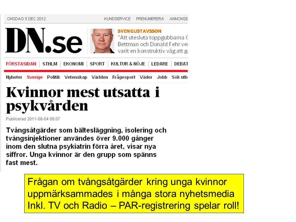 Frågan om tvångsåtgärder kring unga kvinnor uppmärksammades i många stora nyhetsmedia Inkl. TV och Radio – PAR-registrering spelar roll!