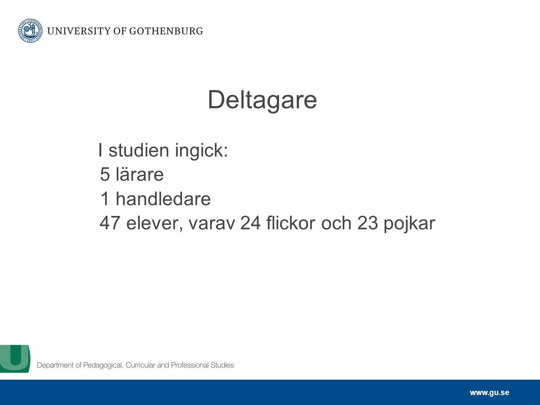 www.gu.se Deltagare I studien ingick: 5 lärare 1 handledare 47 elever, varav 24 flickor och 23 pojkar