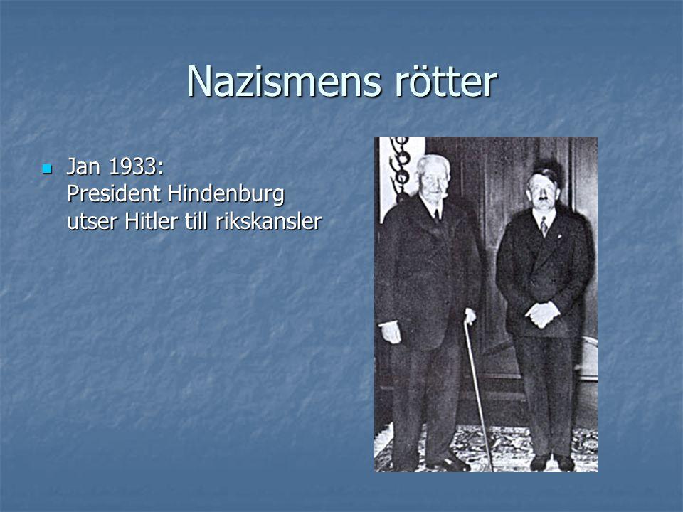  Jan 1933: President Hindenburg utser Hitler till rikskansler
