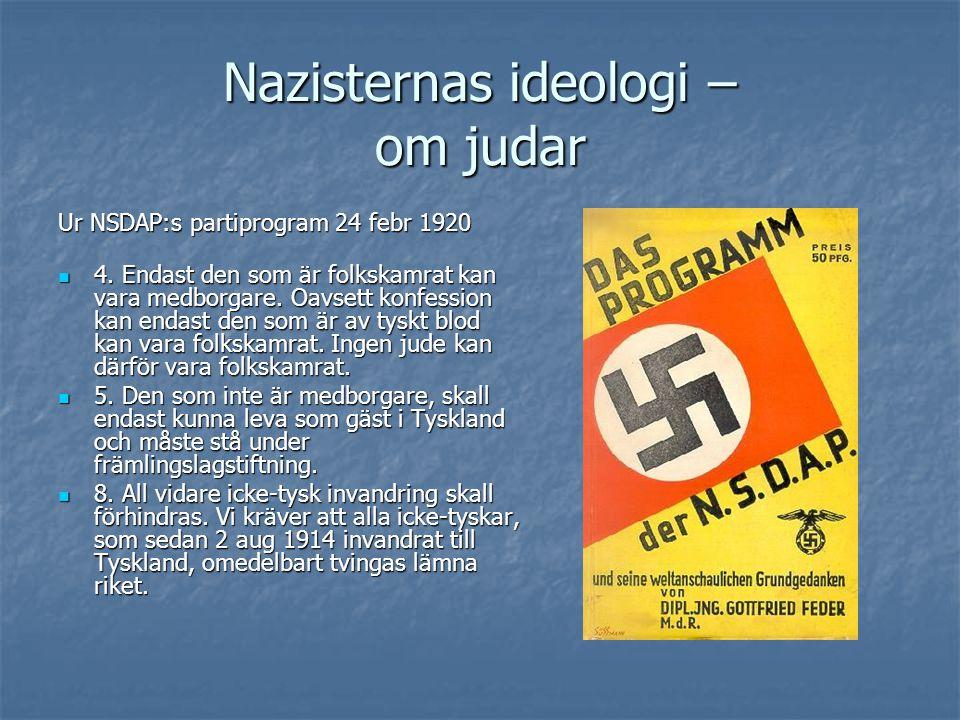 Nazisternas ideologi – om judar Ur NSDAP:s partiprogram 24 febr 1920  4. Endast den som är folkskamrat kan vara medborgare. Oavsett konfession kan en