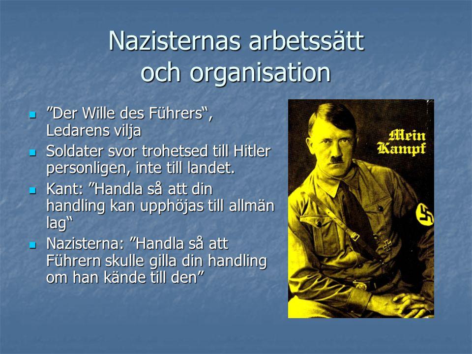"""Nazisternas arbetssätt och organisation  """"Der Wille des Führers"""", Ledarens vilja  Soldater svor trohetsed till Hitler personligen, inte till landet."""