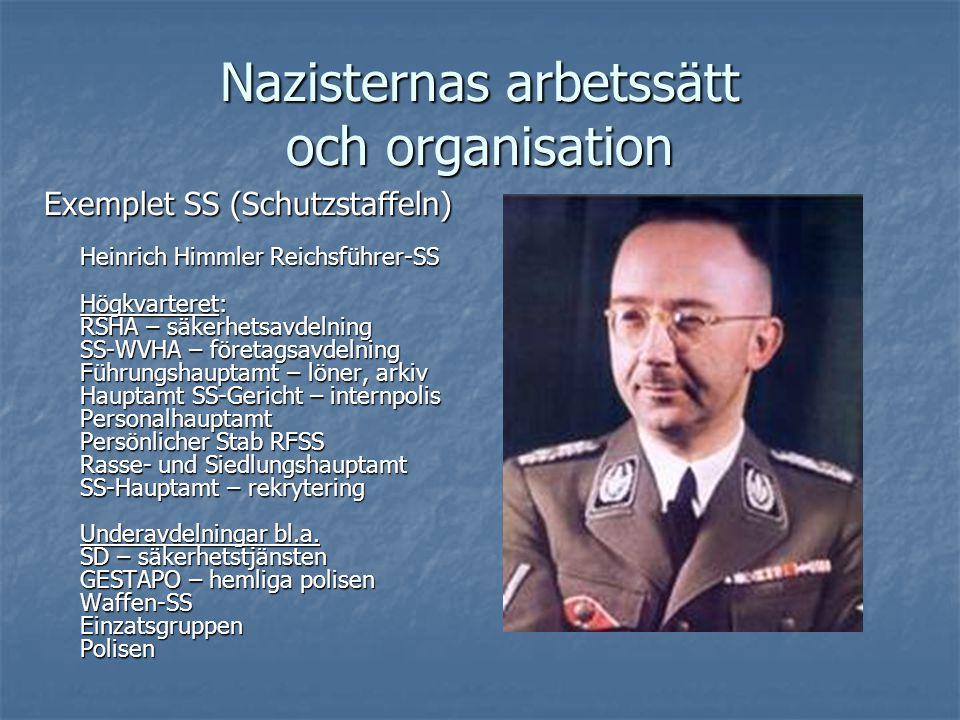 Nazisternas arbetssätt och organisation Exemplet SS (Schutzstaffeln) Heinrich Himmler Reichsführer-SS Högkvarteret: RSHA – säkerhetsavdelning SS-WVHA
