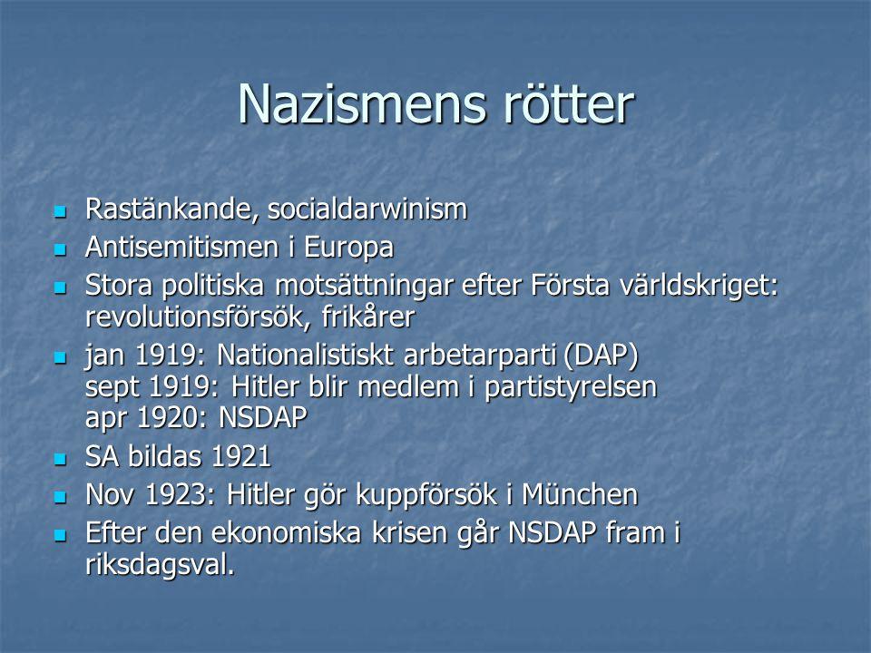 Nazismens rötter  Rastänkande, socialdarwinism  Antisemitismen i Europa  Stora politiska motsättningar efter Första världskriget: revolutionsförsök