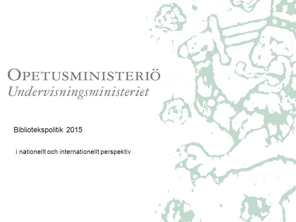 Fram till år 2020 – eller, mera konkret, till år 2015 •Undervisningsministeriets kulturpolitiska strategi sträcker sig fram till 2020 http://www.minedu.fi/OPM/Julkaisut/2009/Kulttuuripolitiikan_strategia_2020?lang=sv http://www.minedu.fi/OPM/Julkaisut/2009/Kulttuuripolitiikan_strategia_2020?lang=sv •och räknar upp de kulturella rättigheterna, bl.a.