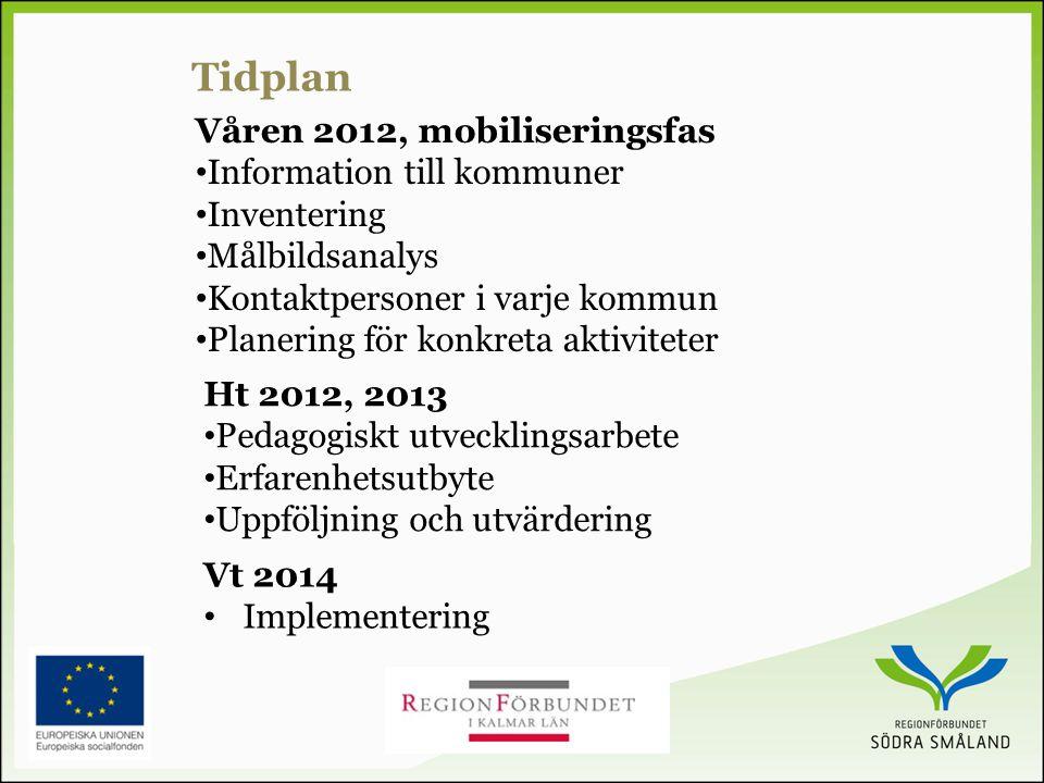 Våren 2012, mobiliseringsfas • Information till kommuner • Inventering • Målbildsanalys • Kontaktpersoner i varje kommun • Planering för konkreta aktiviteter Tidplan Ht 2012, 2013 • Pedagogiskt utvecklingsarbete • Erfarenhetsutbyte • Uppföljning och utvärdering Vt 2014 • Implementering