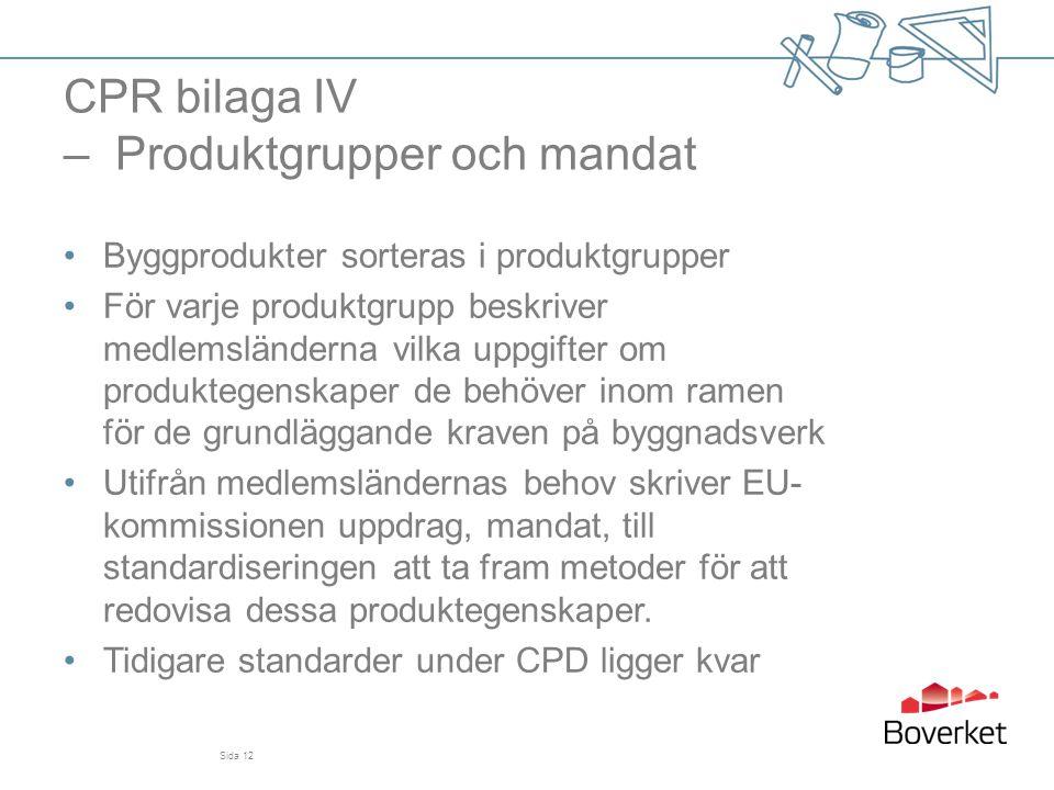 CPR bilaga IV – Produktgrupper och mandat •Byggprodukter sorteras i produktgrupper •För varje produktgrupp beskriver medlemsländerna vilka uppgifter o