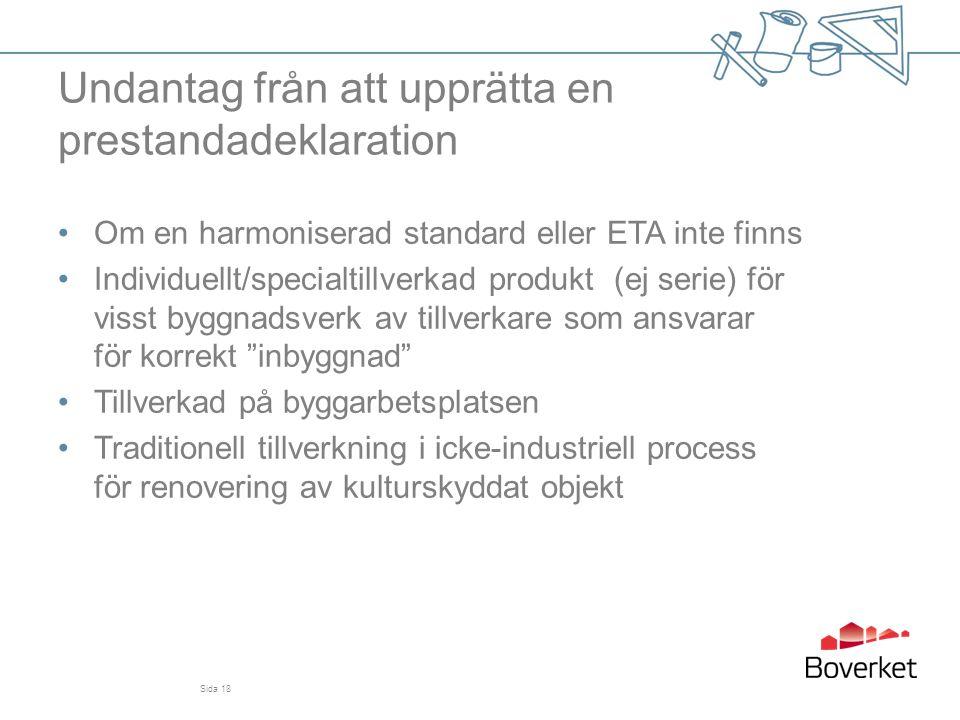 Undantag från att upprätta en prestandadeklaration •Om en harmoniserad standard eller ETA inte finns •Individuellt/specialtillverkad produkt (ej serie