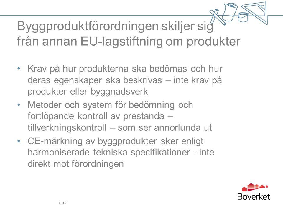 Byggproduktförordningen – skillnad mot byggproduktdirektivet •Prestandauppgifter ska deklareras •Vissa förenklingar och lättnader •Nya begrepp för ökad tydlighet •Kontaktpunkt för varje land, som kan upplysa om nationella byggregelverk •Fler och tydligare krav på ekonomiska aktörer vid tillhandahållande av produkter: tillverkning, import och distribution Sida 8