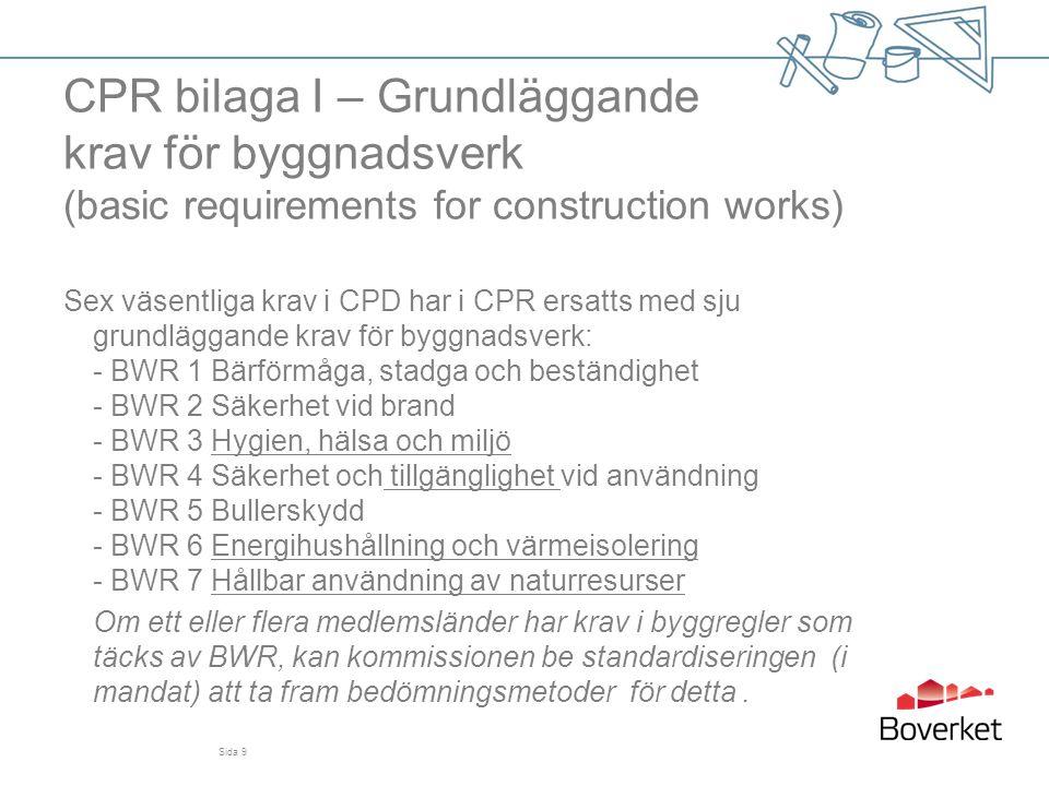 CPR bilaga I – Grundläggande krav för byggnadsverk (basic requirements for construction works) Sex väsentliga krav i CPD har i CPR ersatts med sju gru
