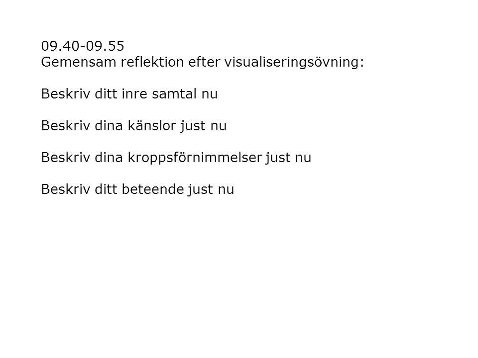09.40-09.55 Gemensam reflektion efter visualiseringsövning: Beskriv ditt inre samtal nu Beskriv dina känslor just nu Beskriv dina kroppsförnimmelser j