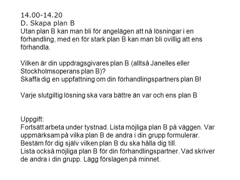 14.00-14.20 D. Skapa plan B Utan plan B kan man bli för angelägen att nå lösningar i en förhandling, med en för stark plan B kan man bli ovillig att e