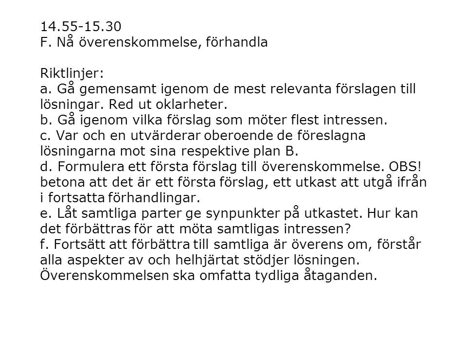 14.55-15.30 F. Nå överenskommelse, förhandla Riktlinjer: a. Gå gemensamt igenom de mest relevanta förslagen till lösningar. Red ut oklarheter. b. Gå i