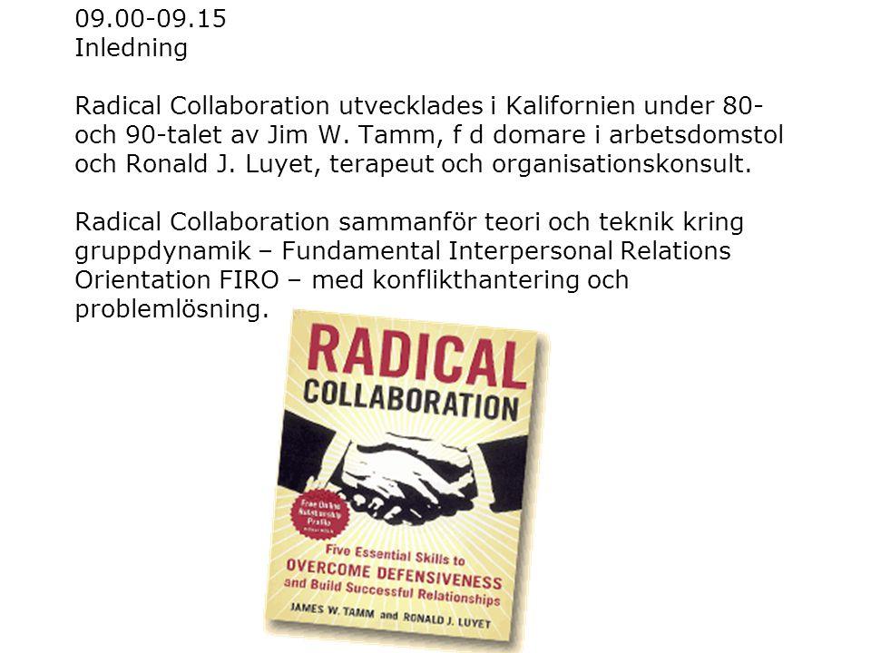 09.00-09.15 Inledning Radical Collaboration utvecklades i Kalifornien under 80- och 90-talet av Jim W. Tamm, f d domare i arbetsdomstol och Ronald J.