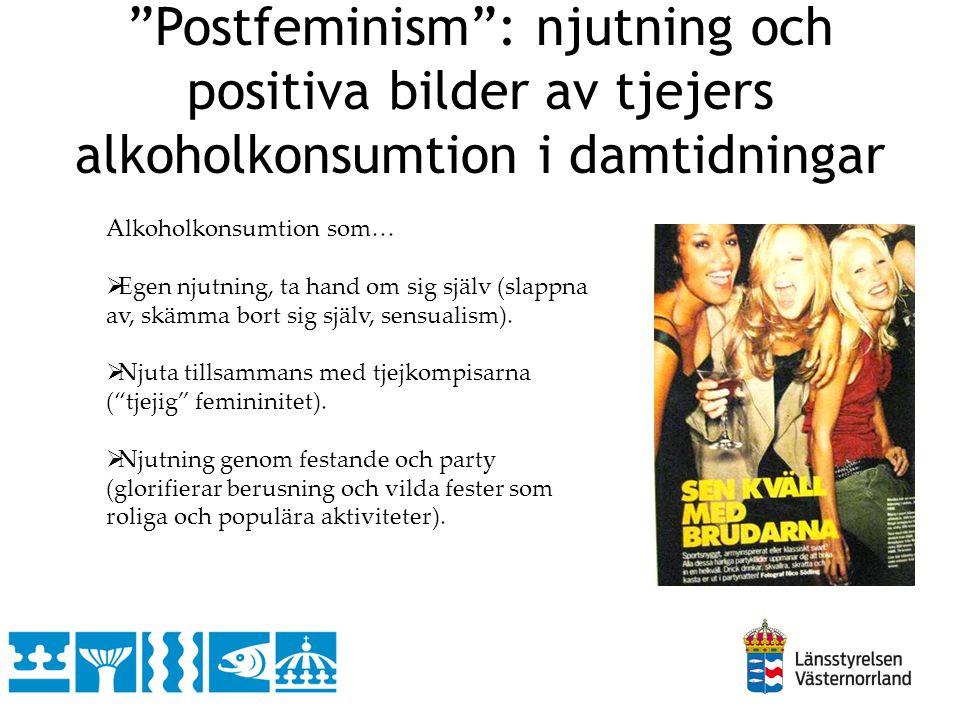 """""""Postfeminism"""": njutning och positiva bilder av tjejers alkoholkonsumtion i damtidningar Alkoholkonsumtion som…  Egen njutning, ta hand om sig själv"""