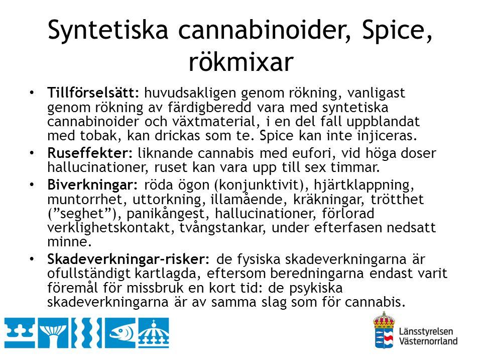 Syntetiska cannabinoider, Spice, rökmixar • Tillförselsätt: huvudsakligen genom rökning, vanligast genom rökning av färdigberedd vara med syntetiska c