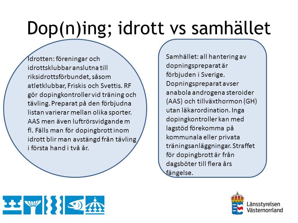 Dop(n)ing; idrott vs samhället Idrotten: föreningar och idrottsklubbar anslutna till riksidrottsförbundet, såsom atletklubbar, Friskis och Svettis. RF