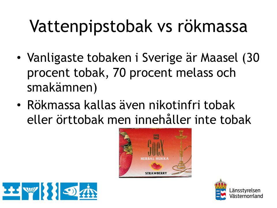 Vattenpipstobak vs rökmassa • Vanligaste tobaken i Sverige är Maasel (30 procent tobak, 70 procent melass och smakämnen) • Rökmassa kallas även nikoti