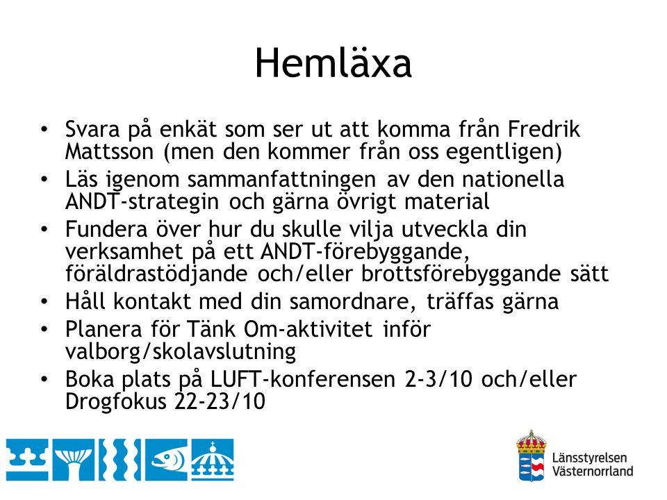 Hemläxa • Svara på enkät som ser ut att komma från Fredrik Mattsson (men den kommer från oss egentligen) • Läs igenom sammanfattningen av den nationel