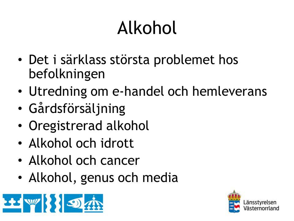 Alkohol • Det i särklass största problemet hos befolkningen • Utredning om e-handel och hemleverans • Gårdsförsäljning • Oregistrerad alkohol • Alkoho