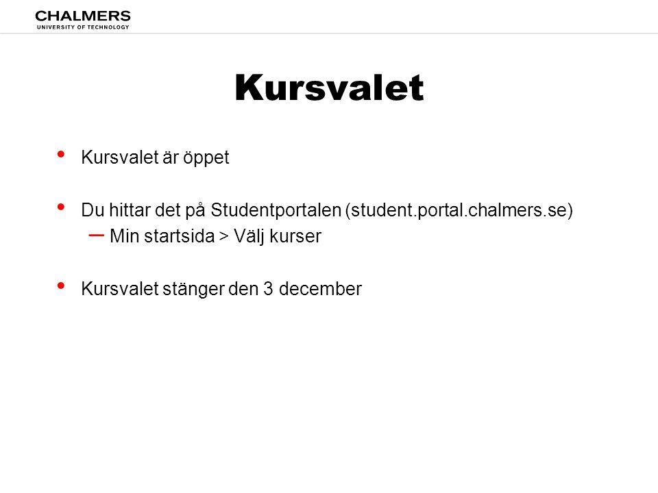 Kursvalet • Kursvalet är öppet • Du hittar det på Studentportalen (student.portal.chalmers.se) – Min startsida > Välj kurser • Kursvalet stänger den 3