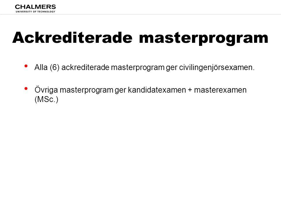 Ackrediterade masterprogram • Alla (6) ackrediterade masterprogram ger civilingenjörsexamen. • Övriga masterprogram ger kandidatexamen + masterexamen