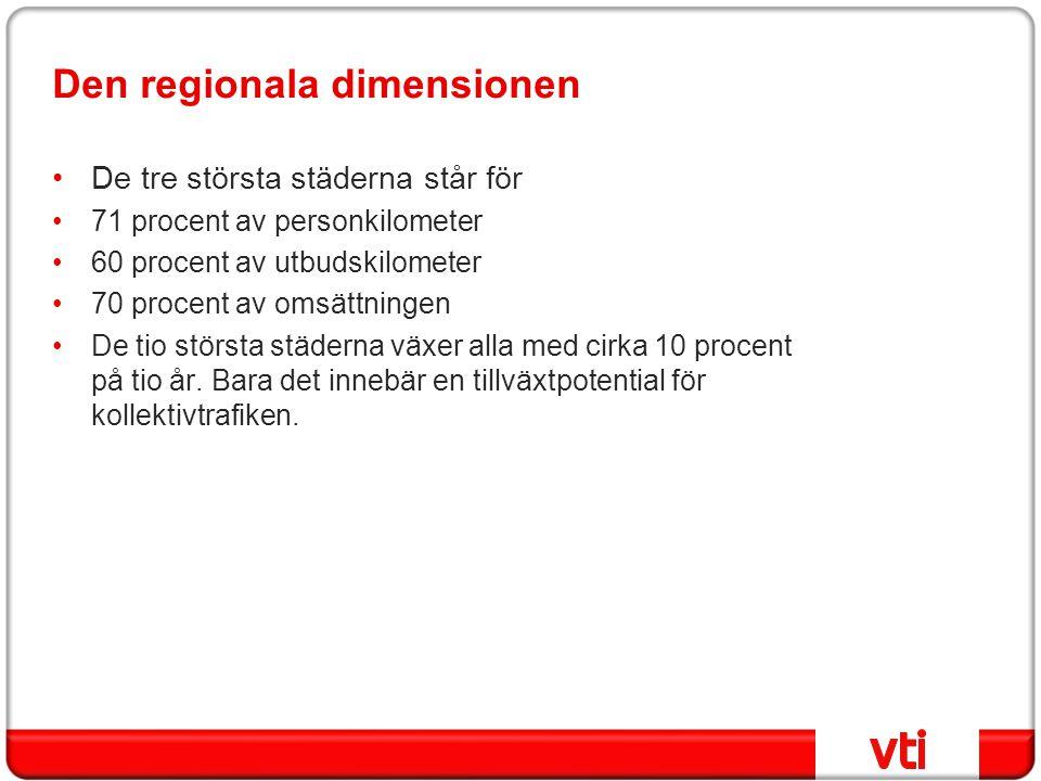 Den regionala dimensionen •De tre största städerna står för •71 procent av personkilometer •60 procent av utbudskilometer •70 procent av omsättningen