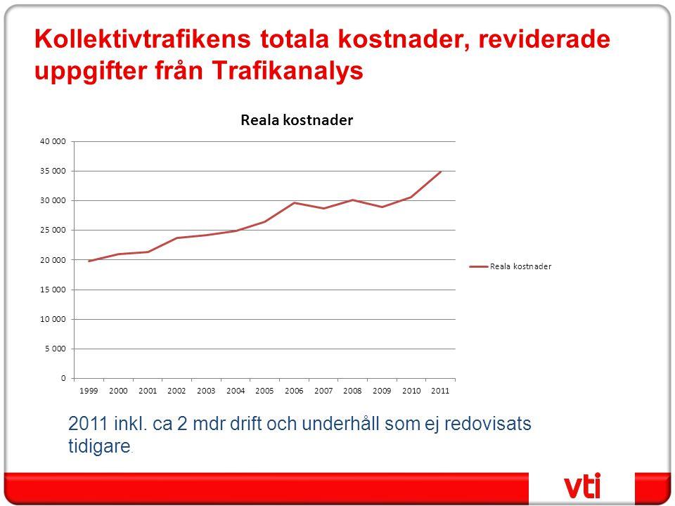 Kollektivtrafikens totala kostnader, reviderade uppgifter från Trafikanalys 2011 inkl. ca 2 mdr drift och underhåll som ej redovisats tidigare.